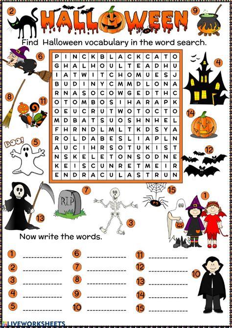 halloween word search interactive worksheet