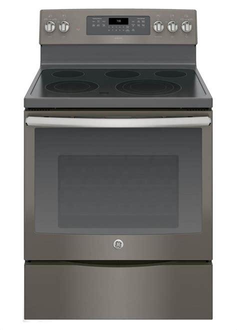 ge adora  cu ft electric range   cleaning convection oven  slate fingerprint
