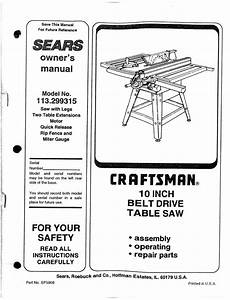 Craftsman 113299315 User Manual 10 Belt Drive Table Saw