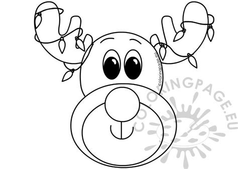 xmas reindeer face  colored lights coloring page