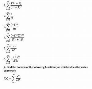 Solved  Sigma N   1 To Infinity  3n   5    N 2   1  2 Sigma