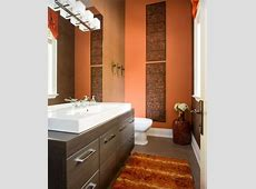 Burnt Orange and Brown make for a Warm #Bathroom Feel