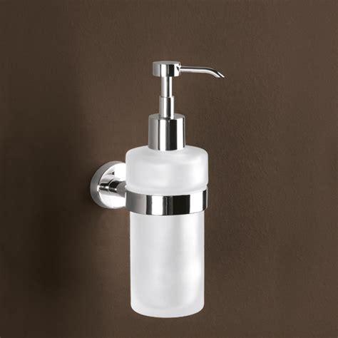 distributeur de savon mural verre satin 233 et laiton chrom 233 gedy