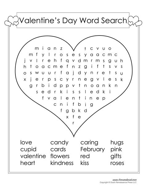 free s day word search printable