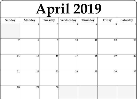 april  calendar editable printable blank template