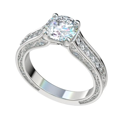 vintage vine detailed engagement ring with 0 18ctw
