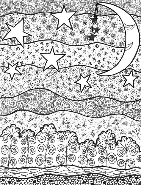 good night zentangle doodles in 2019 adult coloring