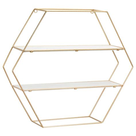 New decor & accessories kids wallpaper wall art & decor decorative accents curtains & hardware throw pillows mirrors top rated decor & accessories. Hexagonal Gold Wire Wall Shelf in 2020 | Wire wall shelf ...