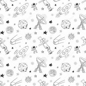 Space doodles icons seamless pattern. Hand drawn sketch ...