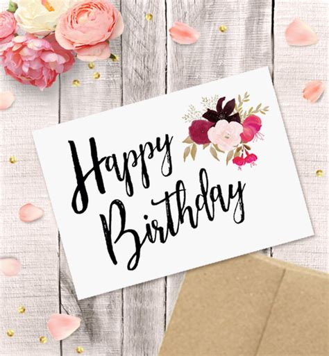 Printable Birthday Card for Her Happy Birthday Watercolor ...
