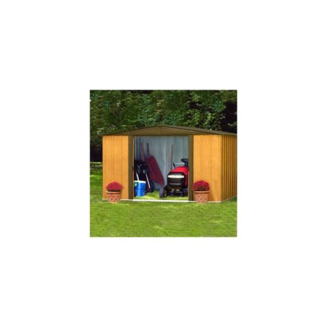 abri de jardin en acier galvanis 233 imitation bois 4 58 m 178 hors tout plantes et jardins