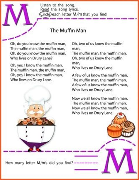 circle  letter  worksheet   muffin man nusery