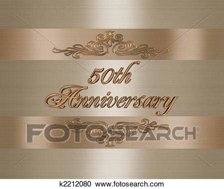 50th golden Wedding Anniversary invitation Clipart