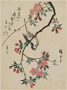 Utagawa Hiroshige: Bird Upside-down on Aronia Branch ...