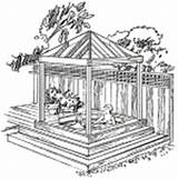 Gazebo Tub Plans Diy Garden Spa Backyard Drawings Cedar Western Drawing Pavilion Gazebos Building Pergola Sketch Outdoor Build Plan Projects sketch template