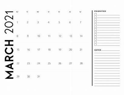 Calendar 2021 Notes Priorities March Pages Instructions