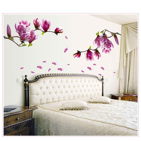 wall hangings for bedroom 1pc magnolia flower wall stciker 3d vinyl wall decals 17743