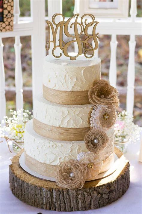 Rustic Burlap And Lace Wedding Cake Wedding Cakes