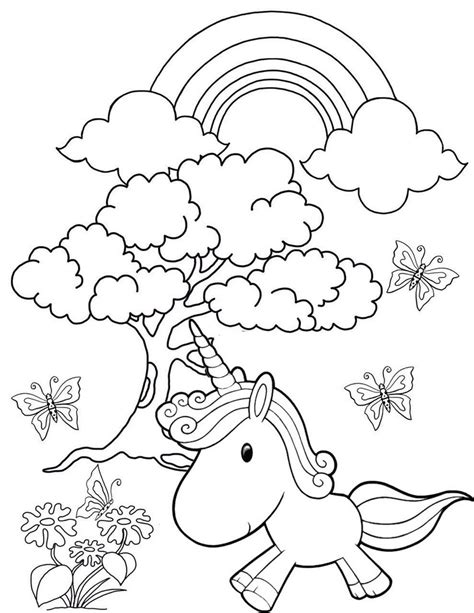 rainbow garden unicorn coloring page
