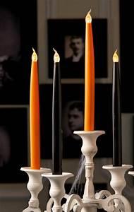 Halloween, Flickering, Cryptic, Candles, Led, 10, U2033, Taper, 4, Pc, Set, Orange, U0026, Black, In, Gift, Boxes