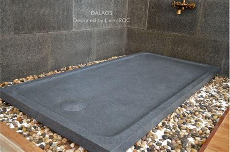 "72""x36"" Stone Shower Base Pan DALAOS Gray Granite   Living'ROC"