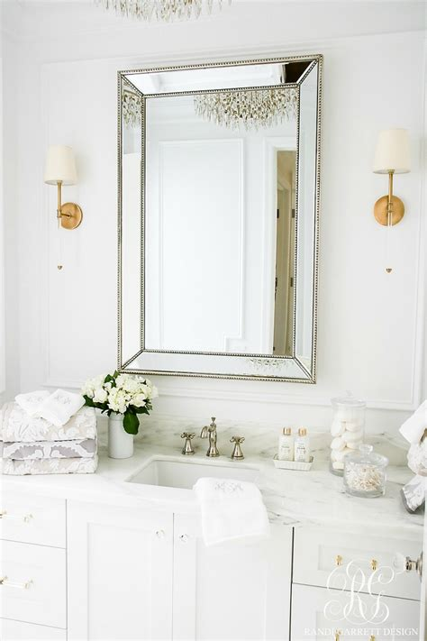 glam transitional guest bathroom reveal  marble