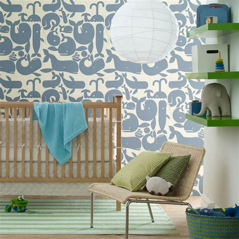 Little Whales Wallpaper  Contemporary Nursery