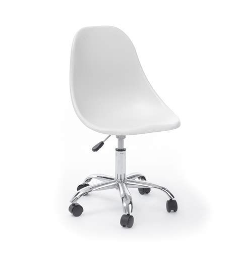 desk white office chairs no wheels leather without for