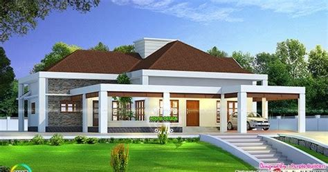 Single Level Home Designs by Stunning Single Floor House Above Road Level Kerala Home