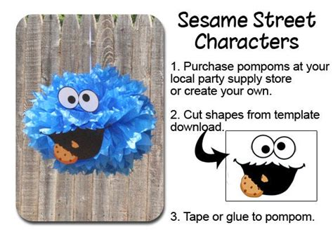 cookie monster pompom face template  creative mess