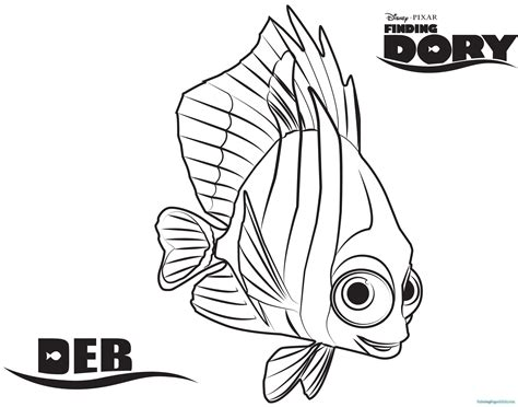 Finding Dory Coloring Pages Purple Shells