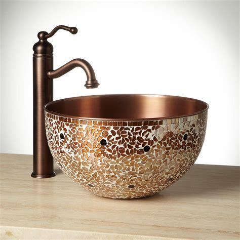 vessel kitchen sink valencia mosaic copper vessel sink vessel sinks 3131