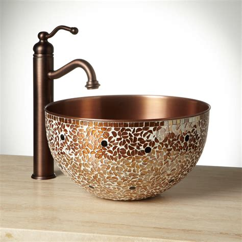Valencia Mosaic Copper Vessel Sink Bathroom