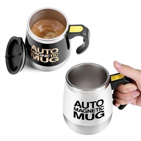 Here's a coffee mug gift idea! Electric Drinkware Stainless Steel Self Mixing Milk Coffee Cup Mugs Magnetic Automatic Stirring ...