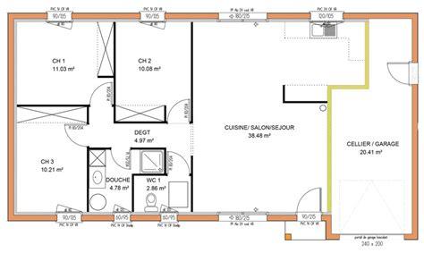 maison 3 chambre plan maison plein pied 3 chambres gratuit