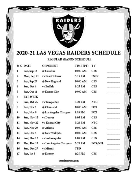 printable   las vegas raiders schedule