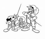 Musketeers Coloring Three Pages Mickey Mouse Musketeer Goofy Donald Coloringpages1001 Popular sketch template