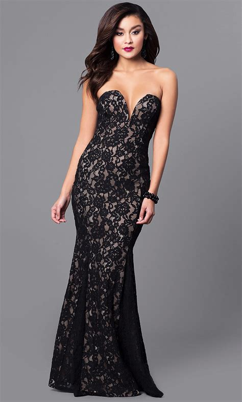 Long Lace Prom Dress with Mermaid Skirt - PromGirl