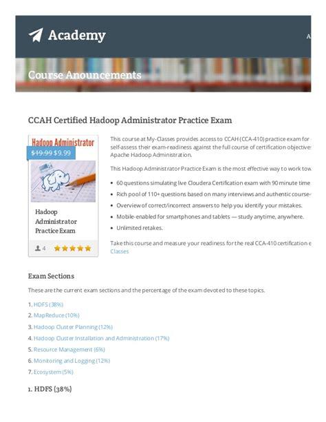 hadoop admin fresher resume ccah cca 410 hadoop administrator certification sle test qu