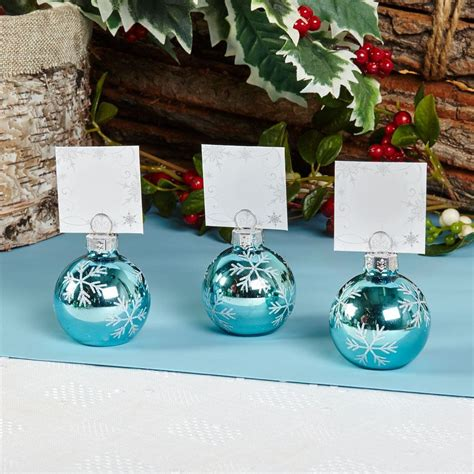 christmas baubles name holders 6 bauble place card holders or 10 place cards table name setting ebay