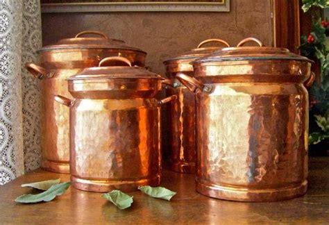 vintage turkish copper canister set  cynthiasattic  etsy copper canisters turkish copper