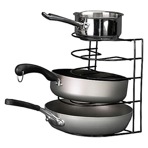 rack for pots and pans buy grayline pot and pan organizer rack in black from bed