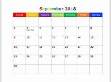 September 2018 Calendar With Holidays For UK, Canada and India