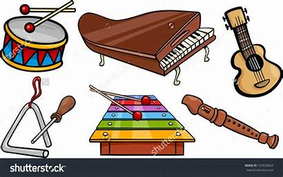 Musical Cartoon Clip Objects Instruments Clipart Triangle