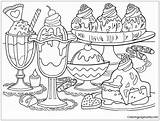 Pages Desserts Coloring Adults sketch template
