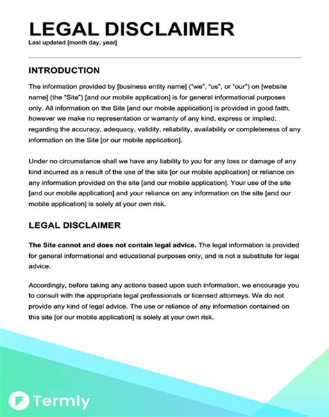 medical disclaimer form free legal disclaimer templates exles download now
