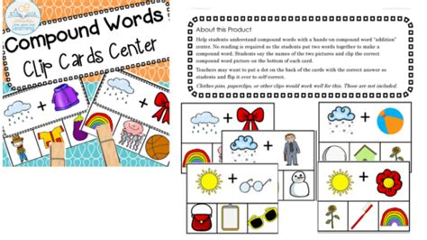 compound words clip cards center    learning