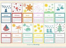Plantilla infantil del calendario Descargue Gráficos y