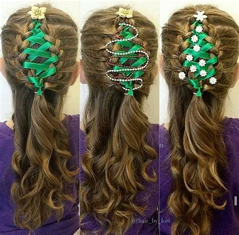 christmas tree hair do corset ribbon braided tree hairstyle tutorial alldaychic