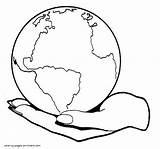 Earth Planet Coloring Hand Palm Drawing Pages Printable Sheets Getdrawings Holidays sketch template